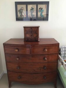 Antique jewelery box and wood block Japanese print from CC. Antique mahogany dresser was Angela and Dick's