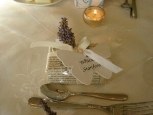 The place markers and favours at Jonny's wedding created and made by Angela Beer.  Sprigs of lavender and hand-made local soap.