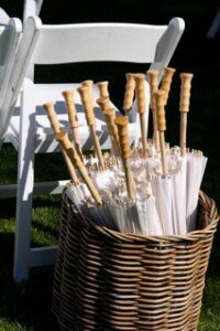 Lovely and inexpensive parasols for Jonny's wedding in Carmel Valley to keep the sun off the guests heads