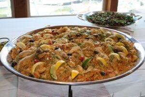 A delcious paella from Dale Ferris catering served family style at Tina's wedding